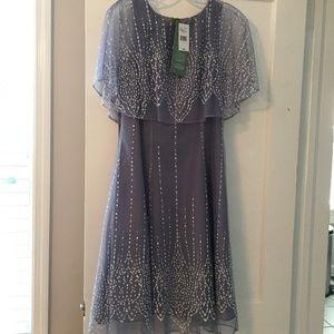 Embellished cape shift dress
